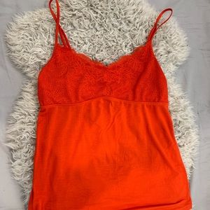Red slip cami with lace